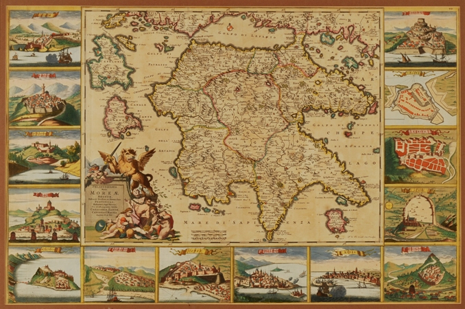 "Frederik De Wit (1630 - 1706)  -""Peloponnesus Hodie Moreae Regnum Distincte Divisum in Omnes Suas Provincias, Hodiernas Atque Veteres"" - Χάρτης της Πελοποννήσου με τις κυριότερες καστροπολιτείες που κατέλαβαν οι Βενετοί κατά την Β΄Ενετοκρατία"