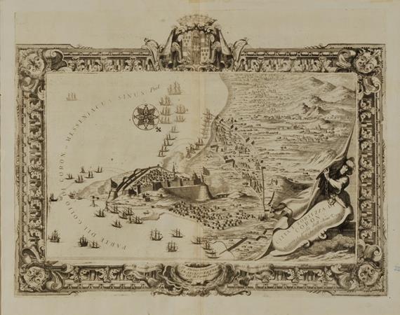 """V. Coronelli (1650 - 1718) - """"Memorie istoriografiche delli regni della Morea """"- Πολιορκία και άλωση της Κορώνης 1685"""