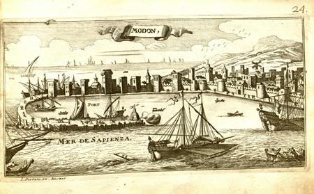 """Modon"", 1690 - Άποψη της Μεθώνης"