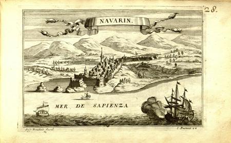"""Navarin"", 1690 - Άποψη της Πύλου (Νιόκαστρο) με αναφορά στον ΣΤ΄ Βενετο - Oθωμανικό πόλεμο"