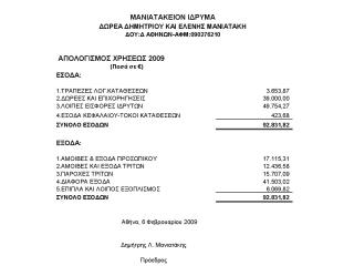 Οικονομικά Στοιχεία 2009