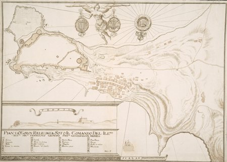 """Pianta Di Coron Releuata Soto Il Comando Del Illmo"", 1698 - στρατιωτικό σχέδιο με πένα του στρατιωτικού σχεδιαστή - μηχανικού F. Beler"