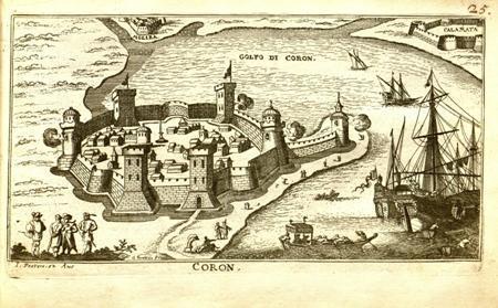 """""""Coron"""", 1690 - Άποψη του κάστρου της Κορώνης"""