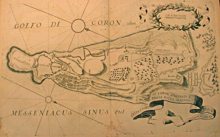 """""""Citta e Forte di Coron assediata, e presa dalla Serenissima Republica, MDCLXXXV"""" - """"Κορώνη Ιούνιος  - Αύγουστος 1685"""""""