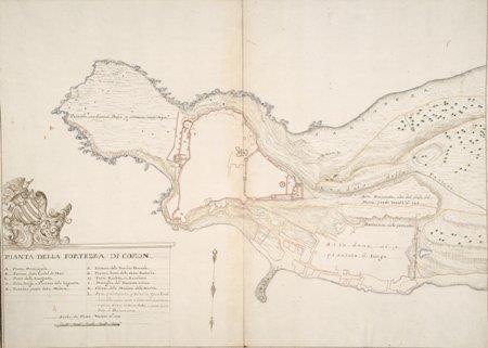 """""""Pianta Della Fortezza Di Coron"""" - στρατιωτικό σχέδιο με πένα με υπογραφή A.D. με το θυρεό του Francesco Grimani"""