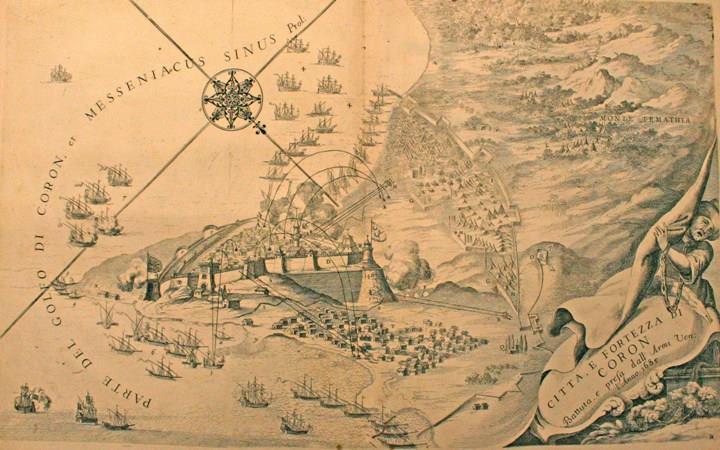 """""""Κορώνη 1685"""", η πόλη και το φρούριο,  του Vincenzo Coronelli από το έργο του """"Citta e Fortezza di Coron battuta e pressa dall Armi Ven: l' Anno 1685"""""""