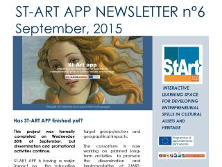 ST-ART APP: NEWSLETTER N°6 – September, 2015
