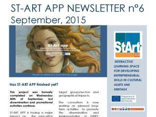 ST-ART APP: NEWSLETTER N°6 – September, 2015