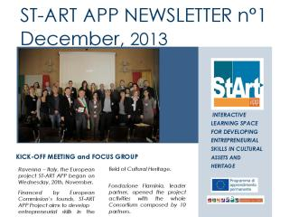 ST-ART APP: NEWSLETTER N°1– December 2, 2013