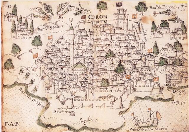 """""""Απεικόνιση της Κορώνης στο χειρόγραφο ημερολόγιο της Αρμάδας του Morosini, 1686"""""""